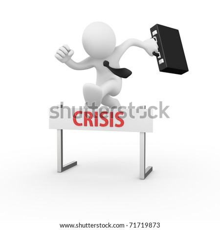 Businessman jumping over a hurdle obstacle titled Crisis - stock photo