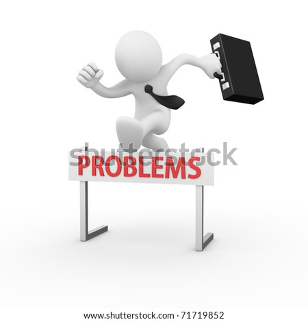 Businessman jumping over a hurdle obstacle titled Problems