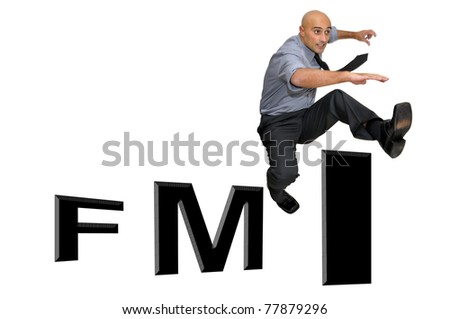 Businessman jumping over FMI  isolated in white