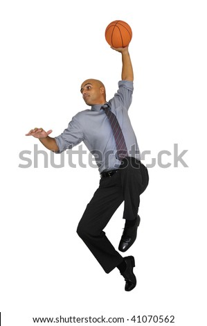 Businessman jumping with basketball for a dunk isolated in white - stock photo