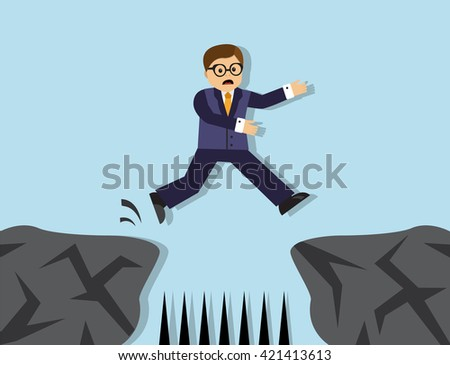Businessman jumps from one cliff to another. Between the cliffs sharp stakes.