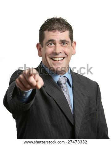 Businessman laughing and pointing on white background - stock photo