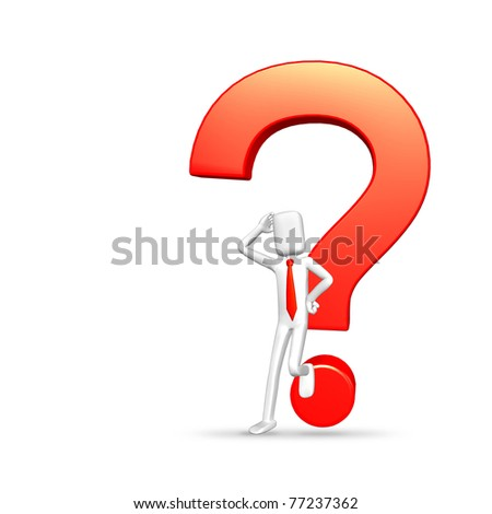 businessman lean on red question symbol and thinking