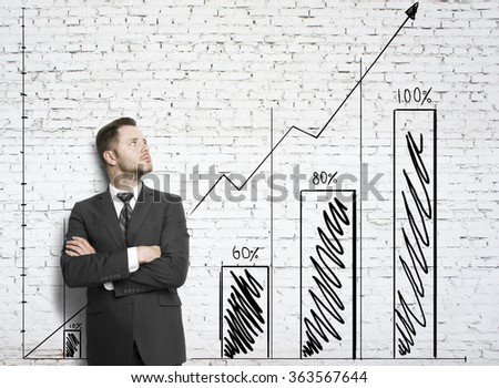 businessman leaning against a brick wall  with drawing chart