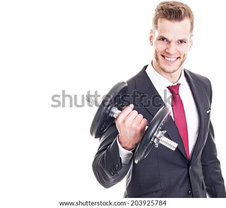 Businessman lifting dumbbell isolated on white background  - stock photo