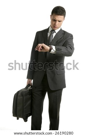 Businessman look his watch with handbag isolated on white