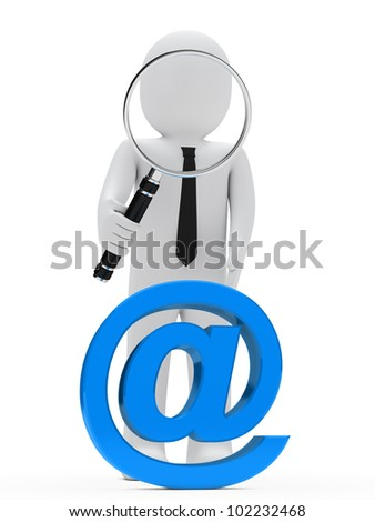 businessman look with magnifying glass email sign