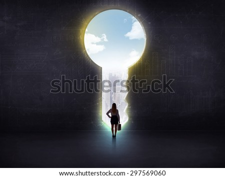 businessman looking a big key, solution concept - stock photo