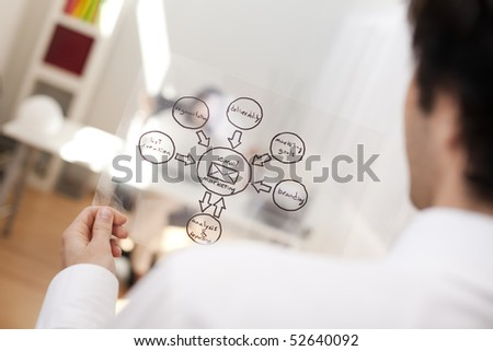 Businessman looking at a EMail Marketing schema (selective focus with shallow DOF). - stock photo