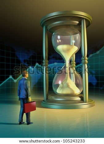Businessman looking at a giant hourglass. Digital illustration.