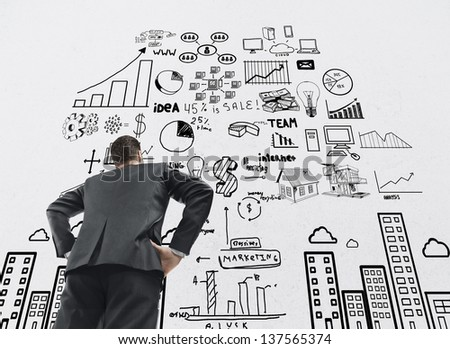 businessman looking at business concept - stock photo