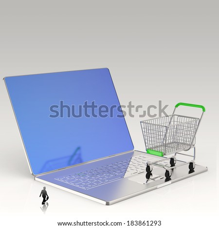 businessman looking at 3d cart on laptop computer as Online shopping concept