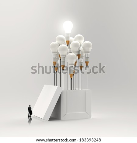 businessman looking at 3d pencil and light bulb concept outside the box as creative and leadership concept  - stock photo