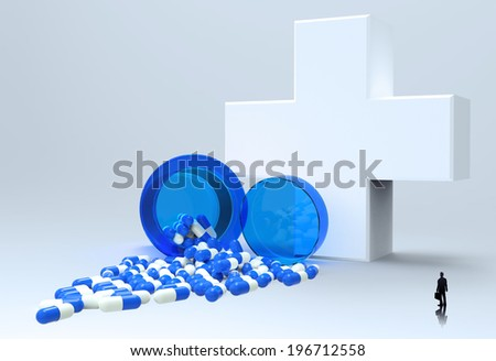 businessman looking at 3d virtual medical symbol with capsule pills  as concept  - stock photo