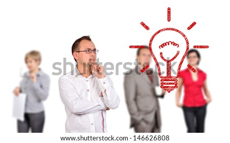 businessman looking at drawing lamp, idea concept - stock photo