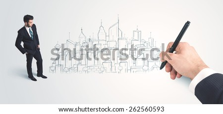 Businessman looking at hand drawn city on wall concept on background