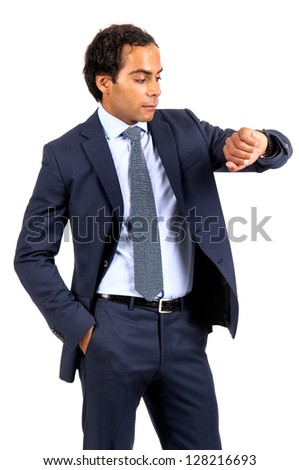 Businessman looking at his wrist watch