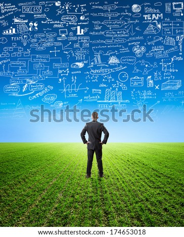 businessman  looking at planning - stock photo