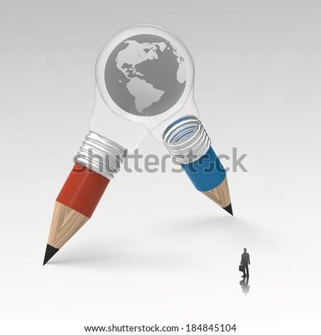 businessman looking at the earth inside 3d pencil lightbulb as creative concept  - stock photo