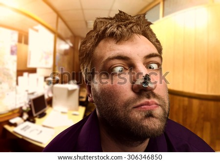 Businessman looking at the fly - stock photo
