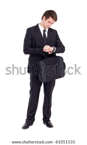 businessman looking at watch, isolated on white
