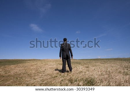 businessman looking away at the field - stock photo