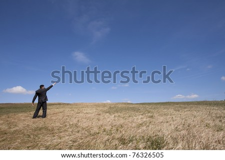 businessman looking away at the field and pointing to the sky - stock photo