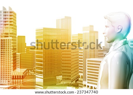 Businessman looking city skyscrapers - stock photo