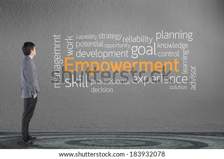 Businessman looking Empowerment text wording in cloud concept