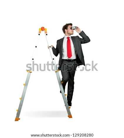 Businessman looking for business on white background - stock photo