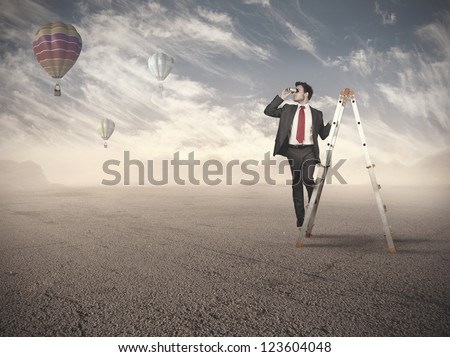 Businessman looking for new job opportunities - stock photo