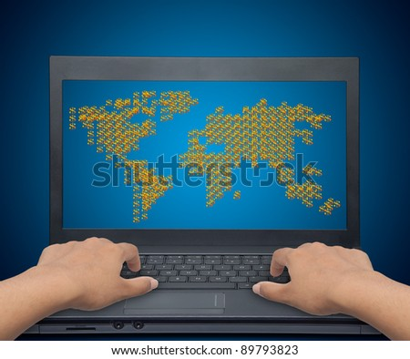 Businessman looking for profits from around the world. - stock photo