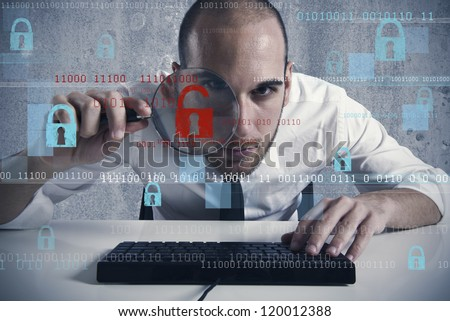 Businessman looking in a computer for virus and hacker - stock photo