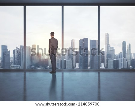 Businessman looking megalopolis through window