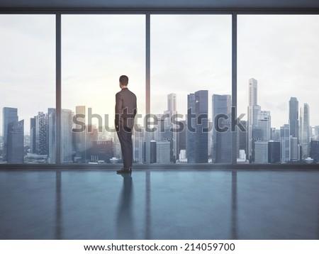 Businessman looking megalopolis through window - stock photo