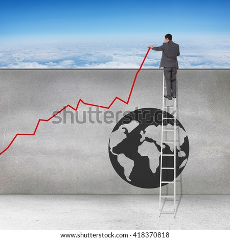 Businessman looking on a ladder against blue sky over clouds at high altitude - stock photo