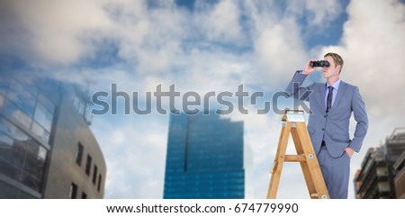 Businessman looking on a ladder against cityscape against cloudy sky