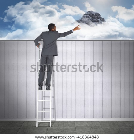 Businessman looking on a ladder against mountain peak through the clouds - stock photo