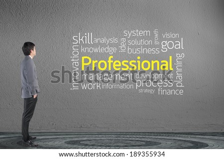Businessman looking Professional text wording in cloud concept - stock photo