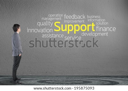 Businessman looking Support text wording in cloud concept