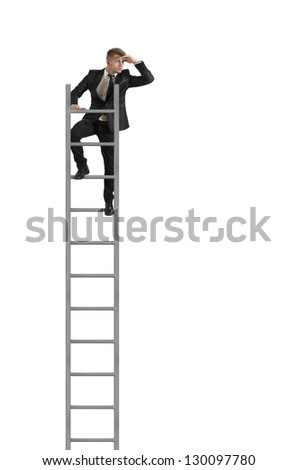 Businessman looking the future on a stairs on white background - stock photo