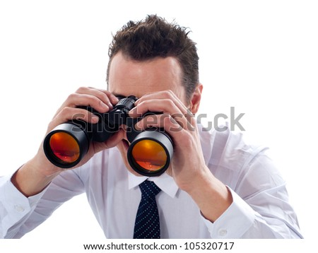 Businessman looking through binoculars isolated on white background