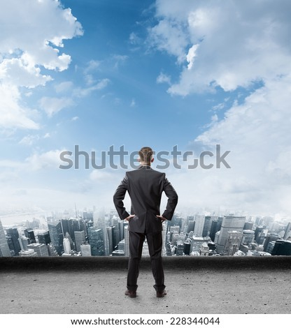 Businessman looking to the future - stock photo