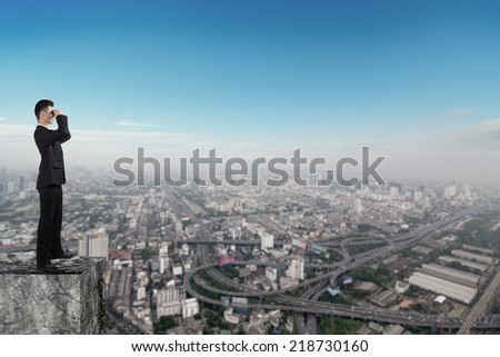 Businessman looking urban view,  Business vision concept design - stock photo