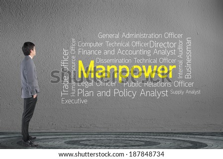 Businessman looking word tags of hr human resources and manpower