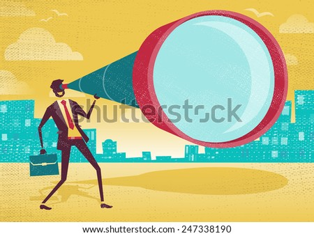 Businessman looks through his Telescope. Great illustration of Retro styled Businessman who's getting a really great view of the business landscape with his gigantic telescope. - stock photo