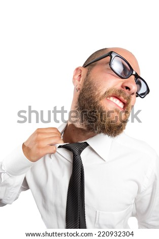 Businessman loosening his tie saying enough to stress. - stock photo