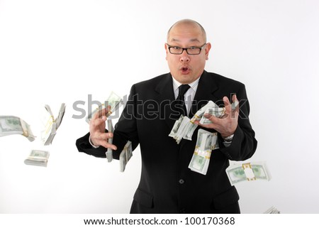 Businessman losing money.