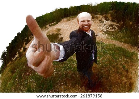Businessman lost in the woods but he did not bathe, he is happy - stock photo
