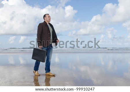 Businessman lost on the beach.